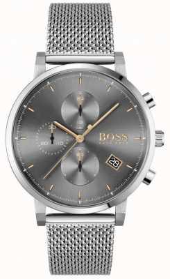 BOSS | uczciwość mężczyzn | bransoleta z siatki stalowej | szaro-czarna tarcza 1513807
