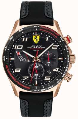 Scuderia Ferrari | pilot mężczyzn | czarny skórzany / silikonowy pasek | czarna tarcza 0830719