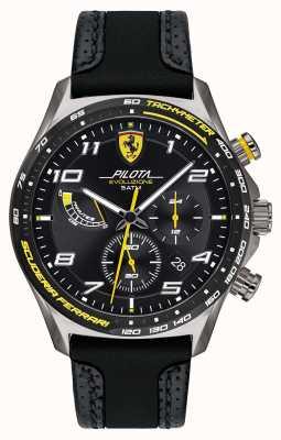 Scuderia Ferrari | pilot mężczyzn | czarny silikonowy / skórzany pasek | czarna tarcza 0830718
