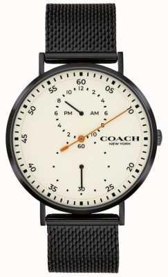 Coach | Charles Charles | czarna bransoletka z siatki | biała tarcza 14602480