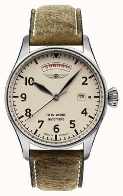 Iron Annie Automatyczna kontrola lotu | brązowy skórzany pasek | beżowa tarcza 5164-3