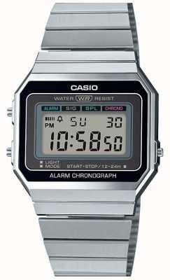 Casio Vintage | srebrna bransoletka | wybieranie cyfrowe | A700WE-1AEF