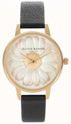 Olivia Burton 3d stokrotka | czarny skórzany pasek damski | tarcza wybierania OB15EG38