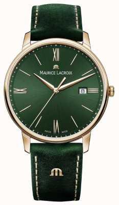 Maurice Lacroix Pozłacany skórzany pasek Elrios w kolorze zielonym EL1118-PVP01-610-1