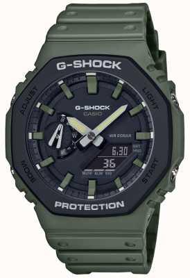 Casio Szok G | rdzeń węglowy | zielony gumowy pasek | wyświetlacz cyfrowy GA-2110SU-3AER