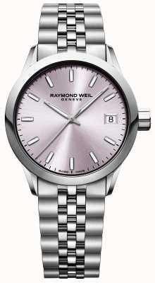 Raymond Weil Freelancer dla kobiet | bransoleta ze stali nierdzewnej | różowa tarcza 5634-ST-80021