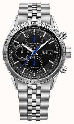 Raymond Weil Freelancer męski | automatyczny chronograf | bransoletka ze stali | czarny 7731-ST-20021