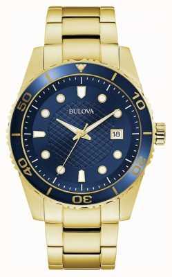 Bulova Sport | złota bransoleta ze stali nierdzewnej | niebieska tarcza 98A197