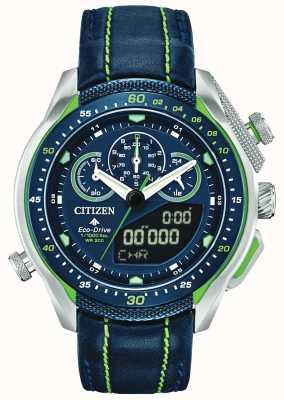Citizen Promaster sst   czas światowy   niebieski skórzany pasek JW0138-08L