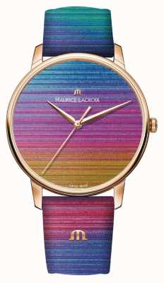 Maurice Lacroix Edycja limitowana Eliros Rainbow | tęczowy skórzany pasek EL1118-PVP01-090-1