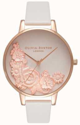 Olivia Burton Różowe tarcze | różowo-skórzany pasek | tarcza w kwiaty OB16FS85