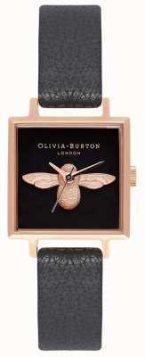 Olivia Burton 3d pszczoła | czarny skórzany pasek | czarna kwadratowa tarcza pszczoły OB16AM128