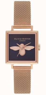 Olivia Burton 3d pszczoła | bransoletka z różowego złota | kwadratowa tarcza pszczoły OB16AM96
