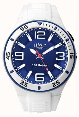 Limit Unisex | biały gumowy pasek | niebieska tarcza 5763.65