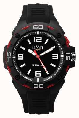 Limit | czarny gumowy pasek dla mężczyzn | czarna tarcza | czerwono-czarna ramka 5789.65