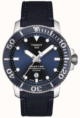 Tissot Seastar 1000 powermatic | niebieski pasek z tkaniny | niebieska tarcza T1204071704101