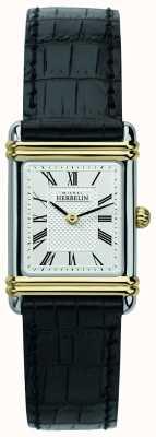 Michel Herbelin Art Deco dla kobiet | czarny skórzany pasek | srebrna tarcza 17478/T08