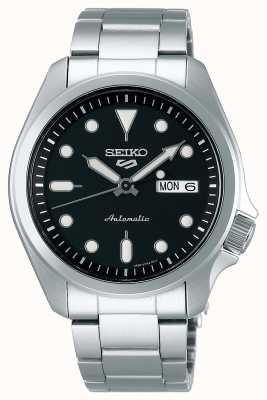Seiko Męski automatyczny zegarek sportowy 5 | czarna tarcza SRPE55K1