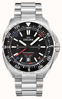 Delma Kwarc Oceanmaster   bransoleta ze stali nierdzewnej   czarna tarcza 41701.676.6.038