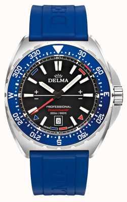 Delma Kwarc Oceanmaster | niebieski gumowy pasek | czarna tarcza 41501.676.6.048