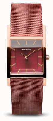 Bering Damska klasyka | polerowane różowe złoto | czerwona bransoletka z siatki 10426-363-S