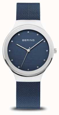Bering Damska klasyka | polerowane srebro | niebieski pasek z siatki 12934-307