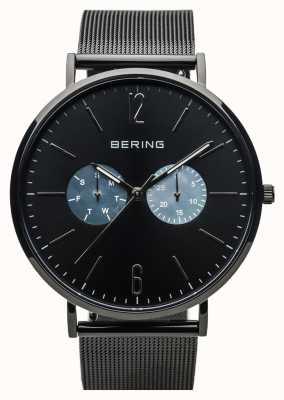 Bering Klasyczny unisex | polerowany czarny | czarny pasek z siatki 14240-123