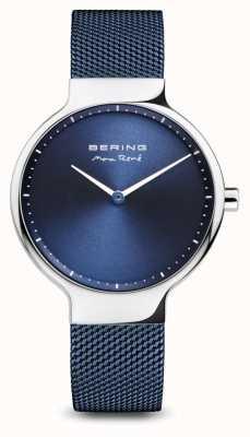 Bering Max rené | polerowane srebro | niebieski pasek z siatki 15531-307