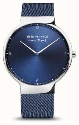 Bering Max rené | polerowane srebro | niebieski pasek z siatki 15540-307