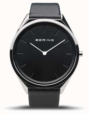 Bering Ultra-slim | polerowane srebro | czarny skórzany pasek 17039-402