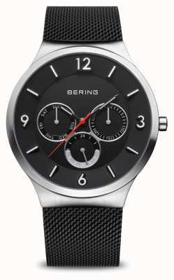 Bering Klasyczny mężczyzna | szczotkowane srebro | czarna bransoletka z siatki 33441-102