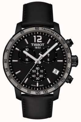 Tissot Zegarek Quickster z chronografem z czarnej skóry i czarnej skóry T0954173605702