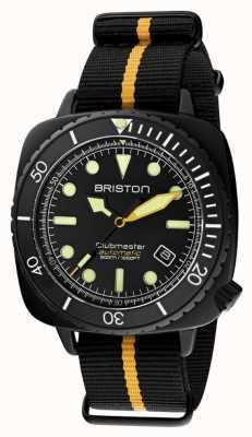 Briston Nurek Clubmaster pro | czarny / żółty pasek nato | czarna tarcza 20644.PBAM.B.34.NBY