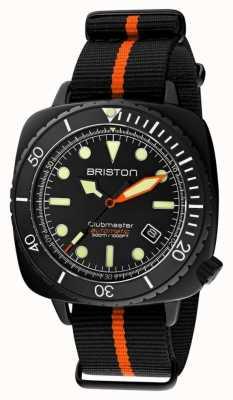 Briston Nurek Clubmaster pro | czarny / pomarańczowy pasek nato | czarna tarcza 20644.PBAM.B.35.NBO