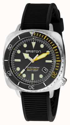 Briston Clubmaster diver pro stal | czarny gumowy pasek | czarna tarcza 20644.S.DP.34.RB