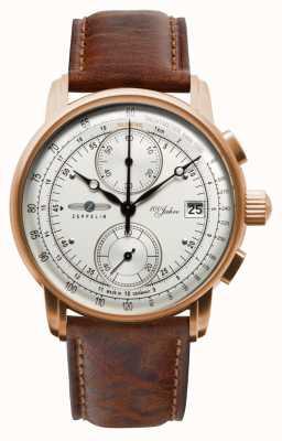 Zeppelin Męski chronograf | 100 lat | brązowy skórzany pasek 8672-1