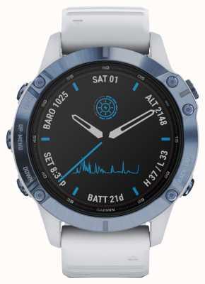 Garmin Fenix 6 pro solar | biały, gumowy pasek w kolorze tytanowo-niebieskim 010-02410-19