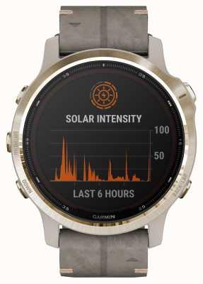 Garmin Fenix 6s pro solar | jasny zamszowy pasek w kolorze jasnoszarym 010-02409-26