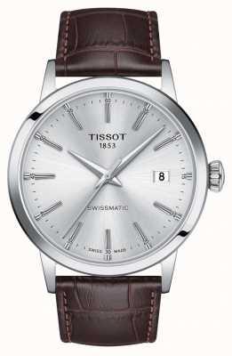 Tissot | swissmatic | srebrna tarcza | brązowy skórzany pasek | T1294071603100