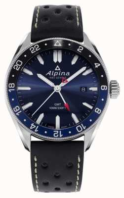 Alpina Alpiner Quartz GMT | niebieska tarcza | czarny skórzany pasek AL-247NB4E6