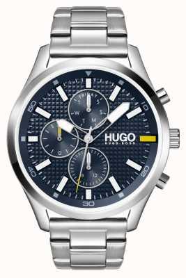 HUGO #Chase, mężczyźni | niebieska tarcza | zegarek ze stali nierdzewnej 1530163