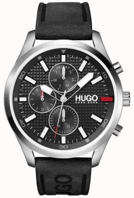 HUGO #Chase, mężczyźni | czarna tarcza | zegarek z czarnym skórzanym paskiem 1530161