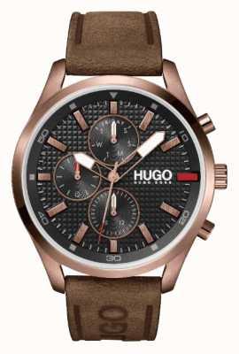 HUGO Męski #chase różowo-złoty ip | czarna tarcza | zegarek z brązowym skórzanym paskiem 1530162
