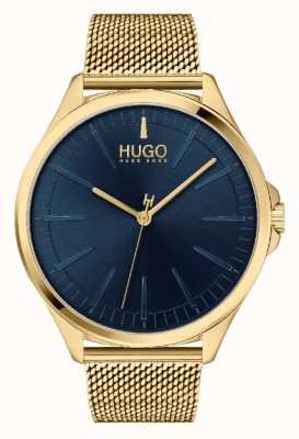 HUGO Męski #smash casual | niebieska tarcza | złota bransoletka z siatki 1530178