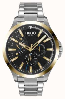 HUGO #leap casual | czarna tarcza | bransoleta ze stali nierdzewnej 1530174