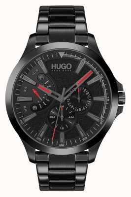 HUGO #leap casual | czarna tarcza | czarna bransoletka ip 1530175