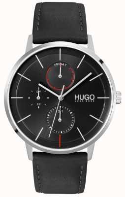 HUGO #istnieć | czarna tarcza | wielofunkcyjny | zegarek z czarnym skórzanym paskiem 1530169