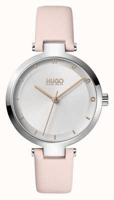 HUGO Panie #hope casual | srebrna tarcza | różowo-skórzany pasek 1540074