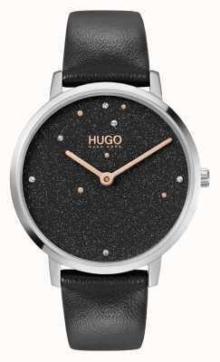 HUGO # biznes marzeń | damskie | czarny skórzany pasek | czarna tarcza kryształowa 1540068