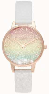 Olivia Burton Tęczowy brokatowy zegarek z tarczą midi OB16EX228